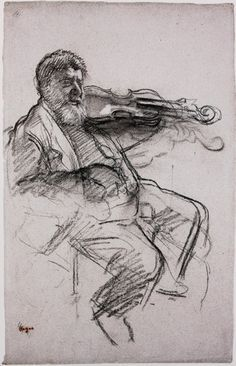 Edgar Degas - The Violinist, c.a charcoal heightened with white chalk on blue-gray paper, x cm, Museum of Fine Arts, Boston Edgar Degas, Degas Drawings, Art Drawings, Figure Drawings, Life Drawing, Drawing Sketches, Sketching, Figure Painting, Painting & Drawing