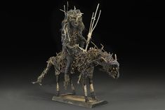 Sylvain and Ghyslaine Staelens, Cavalier, 2015, Wood, metal, cloth, found objects, 35 x 47 x 13 inches, 88.9 x 119.4 x 33 cm, GSS 37