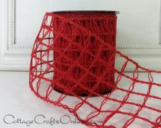 """Red mesh burlap wired ribbon, 4"""" wide natural jute by d stevens Ribbon available from Cottage Crafts Online on Etsy."""
