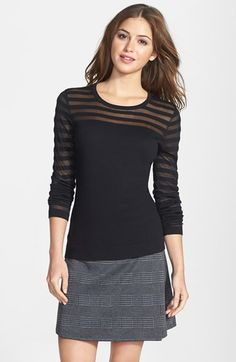 Vince Camuto Sheer Stripe Cotton Blend Sweater (Regular & Petite) available at #Nordstrom