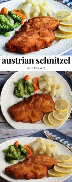Austrian Schnitzel (with Chicken) - What's For Dinner? Austrian Schnitzel (with Chicken) recipe is an easy chicken dinner recipe the whole family will love Schnitzel Recipes, Chicken Schnitzel, Easy Chicken Dinner Recipes, Supper Recipes, Chicken Ideas, Cooking Courses, Cooking Recipes, Healthy Recipes, Milk Recipes
