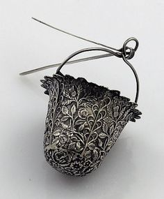 Anglo-Indian colonial period silver tea spout strainer, c1880