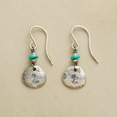 """SWEET EVERLASTING EARRINGS--In appreciation of wildflowers' sweet resilience, flower-etched sterling silver earrings with turquoise beads by Jes MaHarry. USA. Exclusive. 1-1/8""""L."""