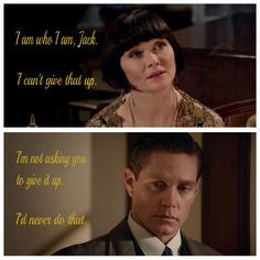 """Phryne and Jack, """"Blood at the Wheel"""", Detective Shows, Star Wars, Nerd Stuff, Fun Stuff, Random Stuff, Murder Mysteries, Mystery Series, Tv Quotes, Pride And Prejudice"""