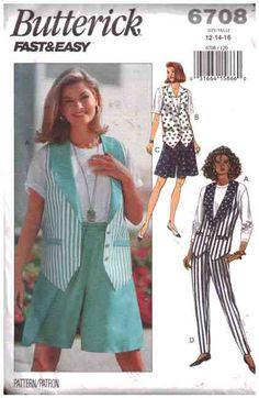 Butterick Sewing Pattern 6708 Misses' Vest, Shorts, Pants Size:  12-14-16  Uncut