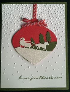 sleigh ornament with Santa and trees landscape lines . Stampin' Up! Homemade Christmas Cards, Christmas Cards To Make, Noel Christmas, Xmas Cards, Handmade Christmas, Homemade Cards, Holiday Cards, Stampin Up Weihnachten, Winter Karten