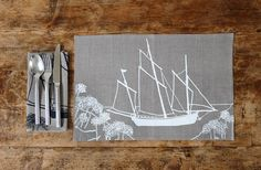 Linen Placemats Set of Two from The Coastal by HelenRoundDesigns