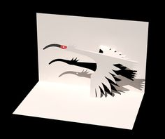 Kirigami Flying Bird Pattern   Origami and PaperCraft – PaperCraftCentral.net