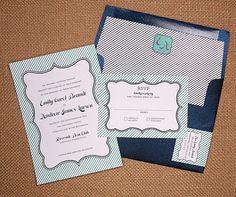 modern stripes printable diy wedding invitation design. I like the stripes on the evelope, too!