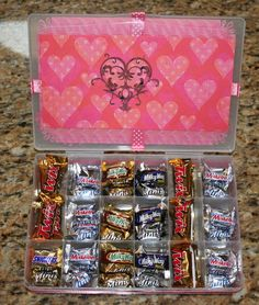 DIY Chocolate Survival Kit made with plastic bead box filled with fun-sized chocolate candies. So cute!