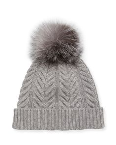 32f77811840 Sofia Cashmere Staghorn Cable Knit Hat w  Fur Pompom