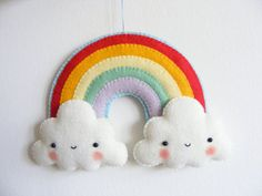PDF pattern Rainbow and clouds baby crib mobile by iManuFatti