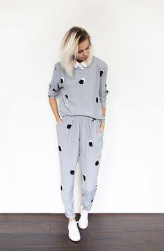 Stine Goya Suit, COS Collar, Adidas Stan Smith