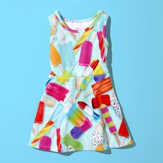 Girls' fashion | Kids' clothes | Sleeveless Popsicle Print Skater Dress | The Children's Place