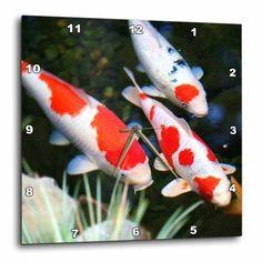3dRose Japanese orange n White Koi Fish, Wall Clock, 15 by 15-inch