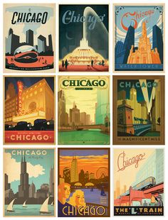 Vintage looking posters that makes me miss the Windy City.