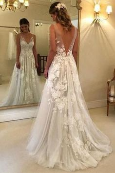 74d81913c54 Elegant A-line V-neck Tulle Floor Length Wedding Dresses With Lace  Appliques OKC94