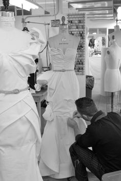 Fashion Atelier - Alexander McQueen working on one of his dresses - couture in the making; fashion design behind the scenes