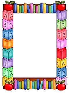 Molduras Tema Escolar - Google Търсене   Bordas Coloridas Page Boarders, Boarders And Frames, Boarder Designs, Page Borders Design, Portfolio Kindergarten, School Border, Kids Background, School Frame, Cute Frames