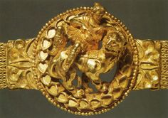 Belt buckle from Tillya Tepe, in Bactria, depicting a woman riding sidesaddle on a lion