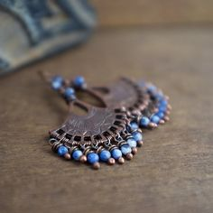 Sodalite Earrings • tribal • bohemian • fan earrings • oxidized copper • wrapped stone • gemstones • blue jean's • gipsy • blue stones