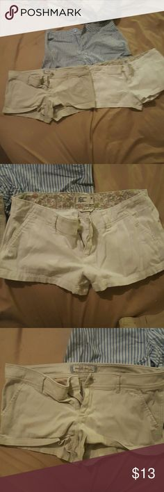 Shorts 3 pairs of shorts the striped ones are mix & Co size Small Tan Abercrombie & Fitch ones are a 4 and the White American Eagle ones are a 4 Abercrombie & Fitch Shorts