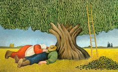 "Lowell Herrero (American, born 1921) ~ ""Nap After the Harvest"""
