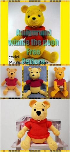 In this article we will share the amigurumi winnie the pooh crochet free pattern. Amigurumi related to everything you can not find and share with you. Crochet Teddy Bear Pattern, Crochet Baby Dress Pattern, Crochet Animal Patterns, Crochet Patterns Amigurumi, Stuffed Animal Patterns, Crochet Dolls, Cat Amigurumi, Doily Patterns, Winnie The Pooh