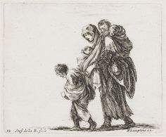 """A Woman Carrying her Baby in Her Arms and Another Small Child on her Back Accompanied by a Young Boy"", by Stefano Della Bella"