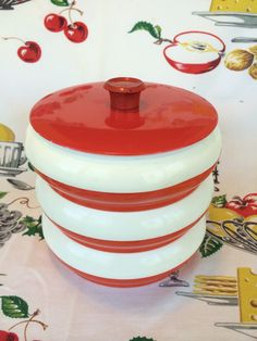 1960s Stacking Canisters Red and White Plastic by NonabelleVintage
