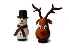 Lightbulb snowman and Rudolph by KarinBr, via Flickr