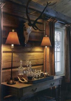 Simplicity and rustic elegance mix together in this square log home Rustic Elegance, Rustic Style, Rustic Decor, Rustic Lamps, Cabin Chic, Little Cabin, Mountain Homes, Mountain Cottage, Mountain Cabins