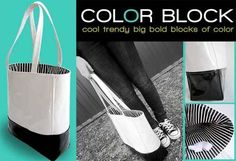 Free Tote Bag Pattern and Tutorial - Color Block Tote