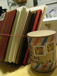 Exciting shape for present via mail, the tape I think makes it -- outgoing Dec 10 06 by donovanbeeson, via Flickr
