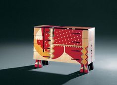 This chest of drawers is simple rectangle shape consisting of pixel patterns with bold shapes and zig-zagging lines.