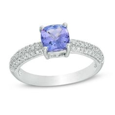 #Valentines #AdoreWe #Zales - #Zales 6.0mm Cushion-Cut Tanzanite and 1/4 CT. T.w. Diamond Ring in 10K White Gold - AdoreWe.com