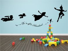 Decal Peter Pan We're off to Neverland wall decal, stickers mural art kids room on Etsy, £25.00