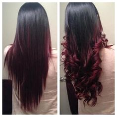 Straight Curled Black to Red Ombre Hair   Beauty Tips N Tricks