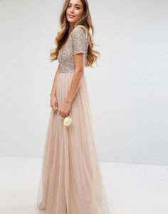 Maya Tall | Maya Tall V Neck Maxi Tulle Dress with Tonal Delicate Sequins