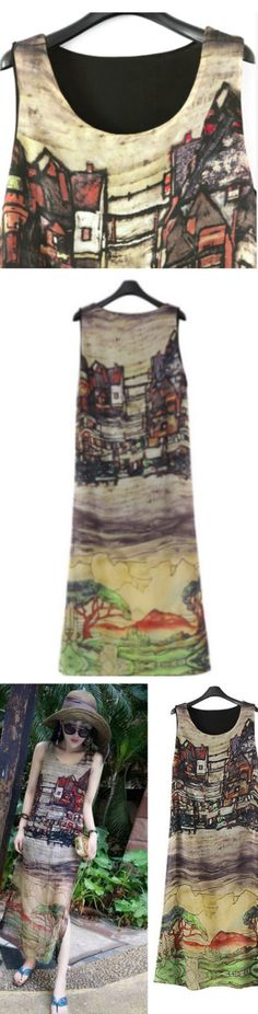 Sleeveless Silk Long Maxi Dress ! Click The Image To Buy It Now or Tag SomeoneYou Want To Buy This For.  #maxidress