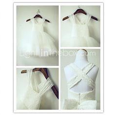 Flower Girl Dress Tea-length Lace/Tulle A-line Sleeveless Dress - USD $49.99