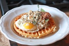 Pheasant and Waffles, Fried Egg, & Herb Gravy Pheasant Recipes, Hunter Gatherer, Gravy, Waffles, Rooster, Herbs, Breakfast, Food, Morning Coffee