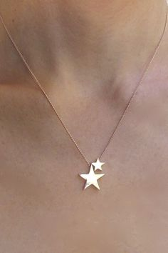 Sterling Silver solid Rose Gold 2 stars Necklace, Sterling Silver and Rose Gold Double Star Necklace – Beautiful Jewelry Cute Jewelry, Gold Jewelry, Jewelry Box, Jewelery, Jewelry Accessories, Jewelry Necklaces, Jewelry Design, Jewelry Stores, Cheap Jewelry
