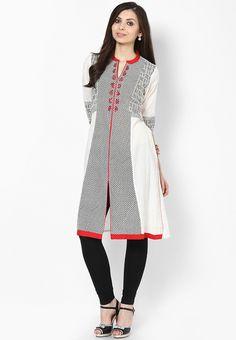Cotton Blend Off White Kurta - Rangmanch By Pantaloons Kurtas & kurtis for women | buy women kurtas and kurtis online in indium