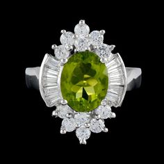 Maya Inspiration Natural 10x8 mm.Green Peridot_White CZ 925 Sterling Silver Ring #Handmade #Cluster #Birthday