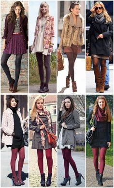 Tights for winter looks Tights Outfit Winter, Colored Tights Outfit, Winter Tights, Winter Fashion Outfits, Fall Winter Outfits, Autumn Winter Fashion, Mode Outfits, Casual Outfits, Pantyhose Outfits
