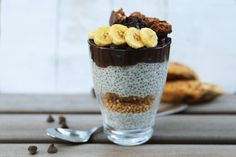 Chia pudding with chocolate mousse pudding