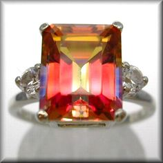 Mystic Fire Topaz Twilight Topaz Ring In by MysticTopazJewelry Gems Jewelry, Gemstone Jewelry, Jewelery, Mystic Fire Topaz, Vintage Diamond Rings, My Precious, Topaz Ring, Orange, Sparklers