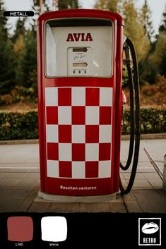 pump station red and white Avia gasoline machine The was an old beautiful gas station on the way to Italy. Vintage Pictures, Vintage Images, Retro Vintage, Background Vintage, Background Images, D Mark, White Clocks, Photoshop, Gas Pumps