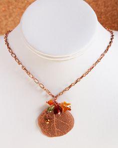 Fall Leaf Swarovski Crystal Copper Necklace by SparkleBunnyFrouFrou on Etsy